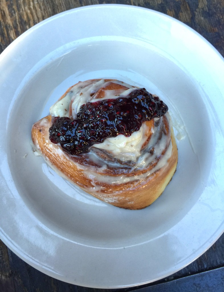 House made Cinnamon Roll with Blackberry Compote, brunch at Bankers Hill