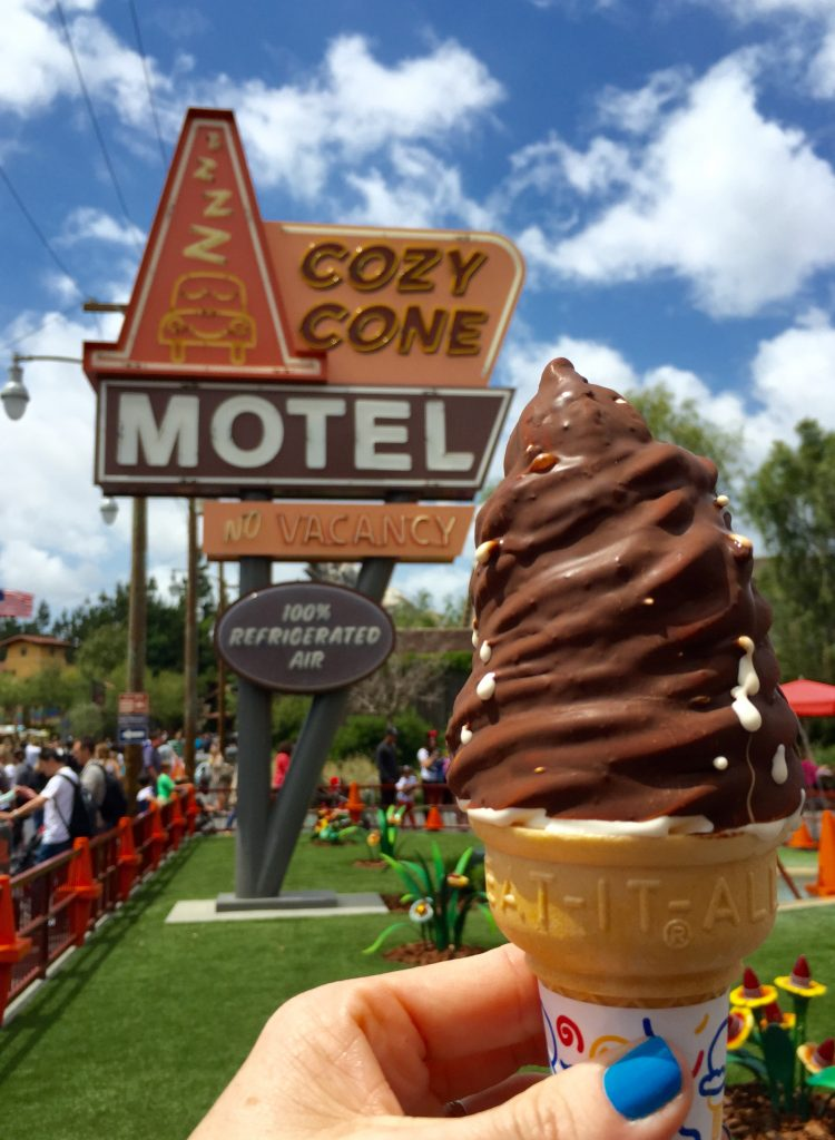 Regular Vanilla Chocolate-dipped Soft Serve Cone from Cozy Cone Motel in Cars Land.