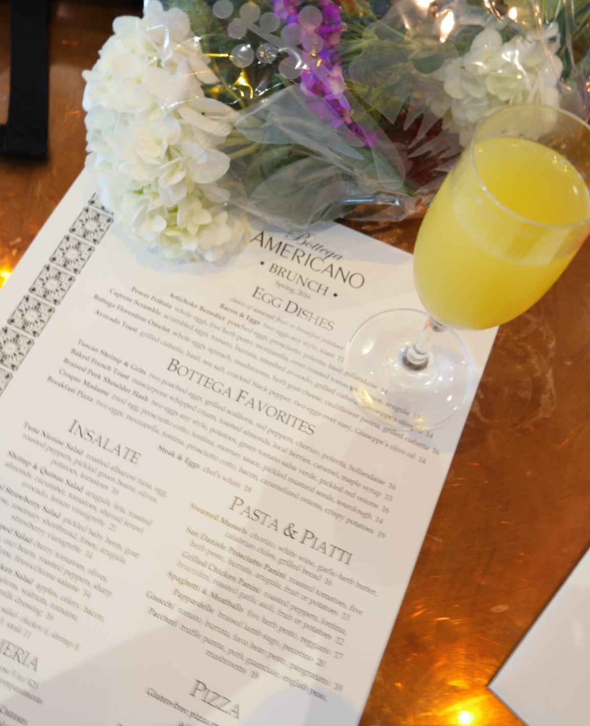 Bottega Americano Brunch Menu