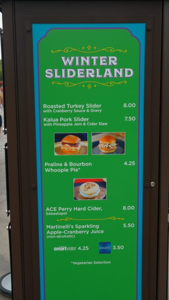 Winter Sliderland Menu
